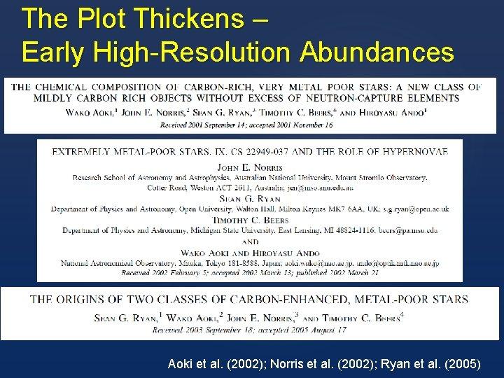 The Plot Thickens – Early High-Resolution Abundances Aoki et al. (2002); Norris et al.