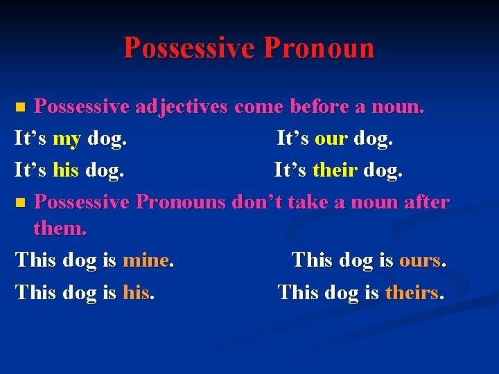 Possessive Pronoun Possessive adjectives come before a noun. It's my dog. It's our dog.