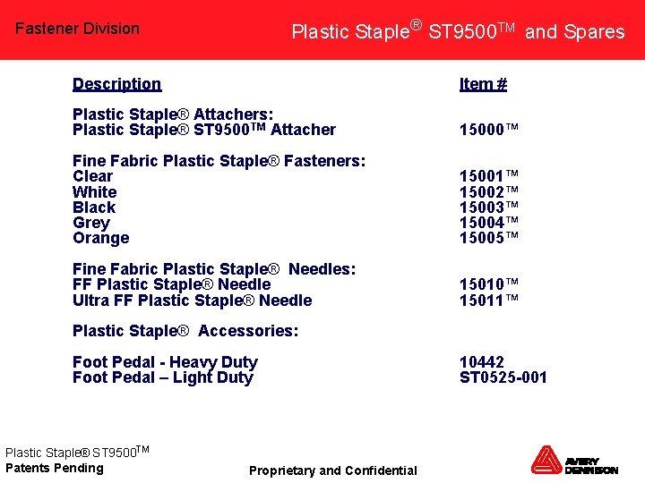 Plastic Staple® ST 9500 TM and Spares Fastener Division Description Item # Plastic Staple®