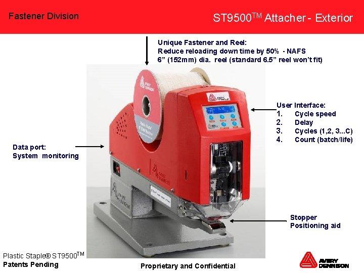 Fastener Division ST 9500 TM Attacher - Exterior Unique Fastener and Reel: Reduce reloading