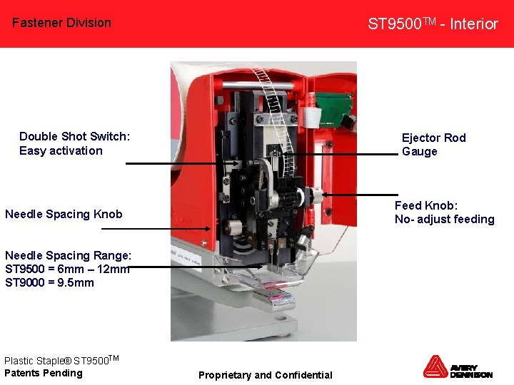 ST 9500 TM - Interior Fastener Division Double Shot Switch: Easy activation Ejector Rod
