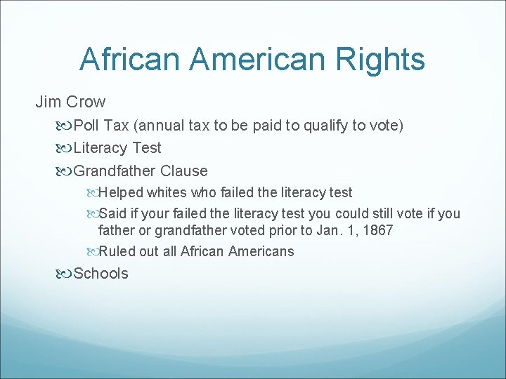 African American Rights Jim Crow Poll Tax (annual tax to be paid to qualify