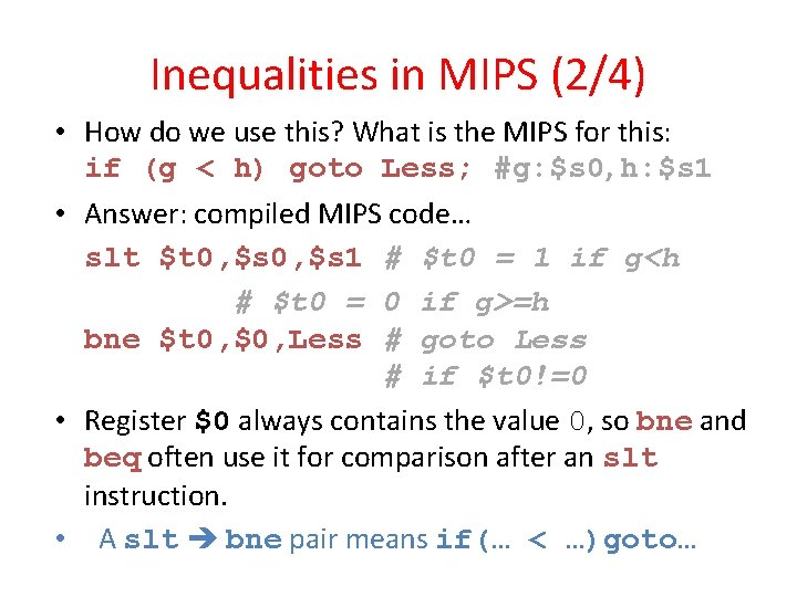 Inequalities in MIPS (2/4) • How do we use this? What is the MIPS