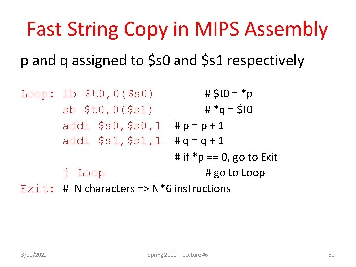 Fast String Copy in MIPS Assembly p and q assigned to $s 0 and