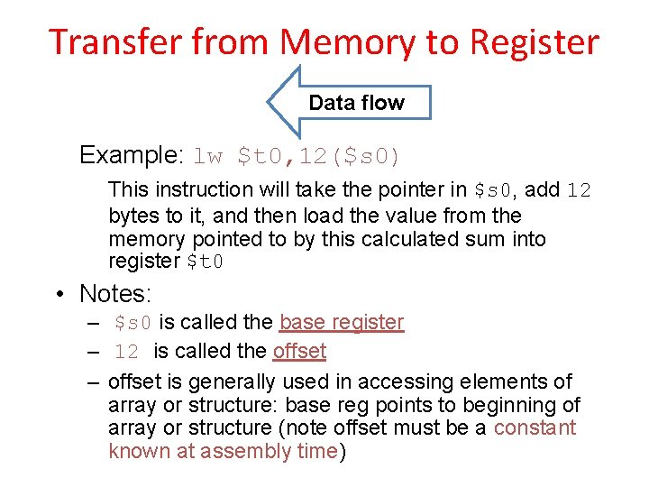 Transfer from Memory to Register Data flow Example: lw $t 0, 12($s 0) This