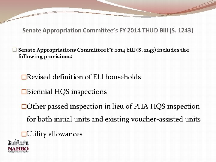 Senate Appropriation Committee's FY 2014 THUD Bill (S. 1243) � Senate Appropriations Committee FY