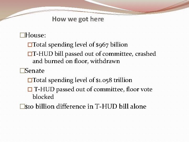 How we got here �House: �Total spending level of $967 billion �T-HUD bill passed