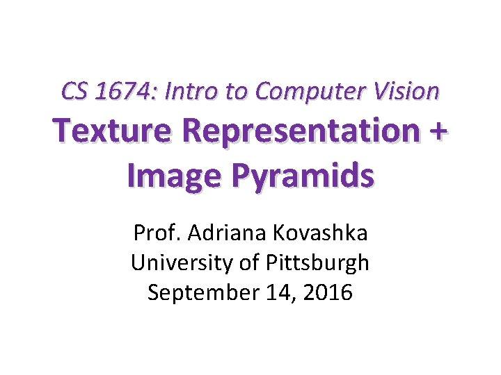 CS 1674: Intro to Computer Vision Texture Representation + Image Pyramids Prof. Adriana Kovashka
