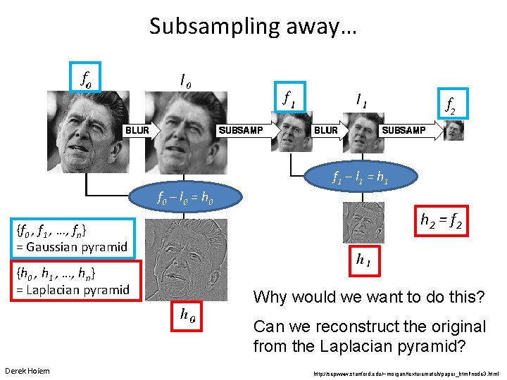 Subsampling away… f 1 – l 1 = h 1 f 0 – l