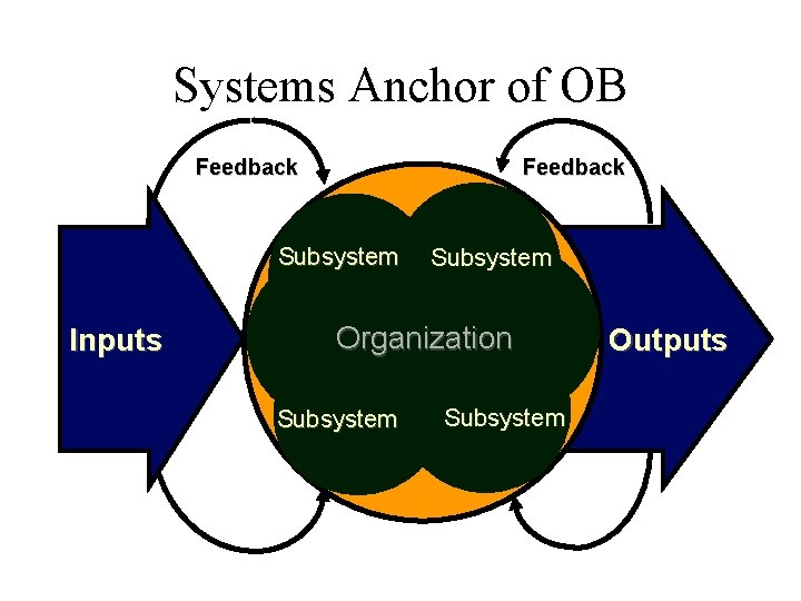 Systems Anchor of OB Feedback Subsystem Inputs Subsystem Organization Subsystem Outputs