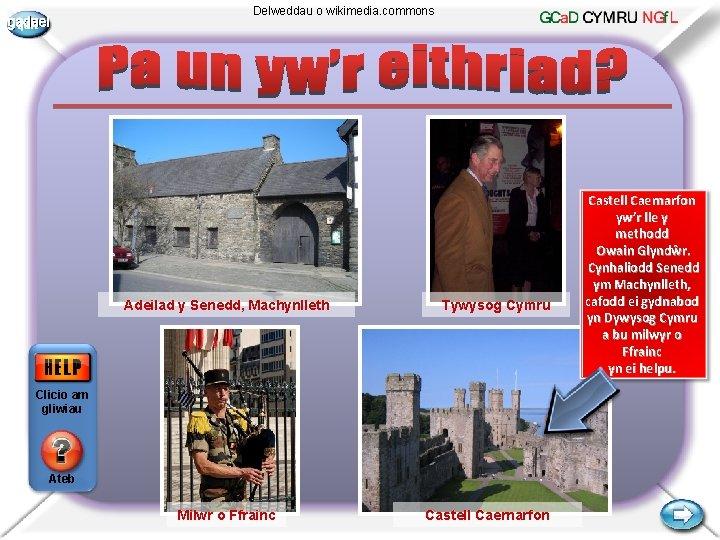 gadael Delweddau o wikimedia. commons Adeilad y Senedd, Machynlleth Tywysog Cymru Clicio am gliwiau