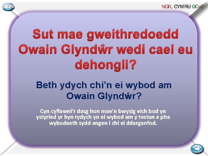 gadael Sut mae gweithredoedd Owain Glyndŵr wedi cael eu dehongli? Beth ydych chi'n ei