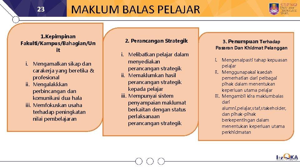 23 MAKLUM BALAS PELAJAR 1. Kepimpinan Fakulti/Kampus/Bahagian/Un it i. Mengamalkan sikap dan carakerja yang