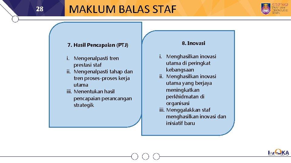 28 MAKLUM BALAS STAF 7. Hasil Pencapaian (PTJ) i. Mengenalpasti tren prestasi staf ii.