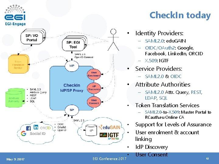 Check. In today • Identity Providers: – SAML 2. 0: edu. GAIN – OIDC/OAuth