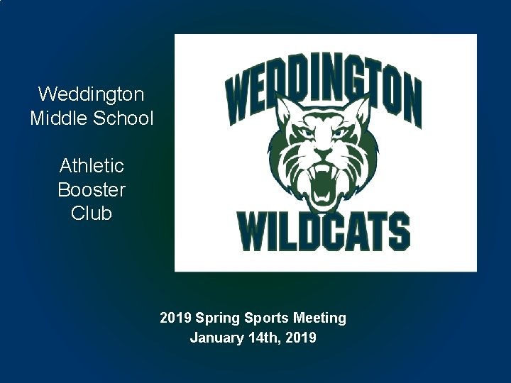 Weddington Middle School Athletic Booster Club 2019 Spring Sports Meeting January 14 th, 2019