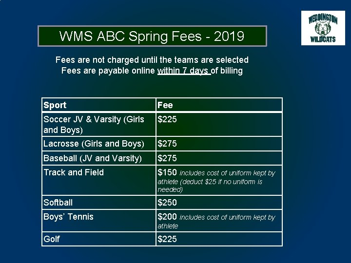 WMS ABC Spring Fees - 2019 Fees are not charged until the teams are
