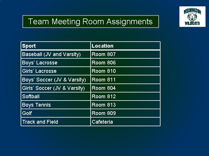Team Meeting Room Assignments Sport Location Baseball (JV and Varsity) Room 807 Boys' Lacrosse