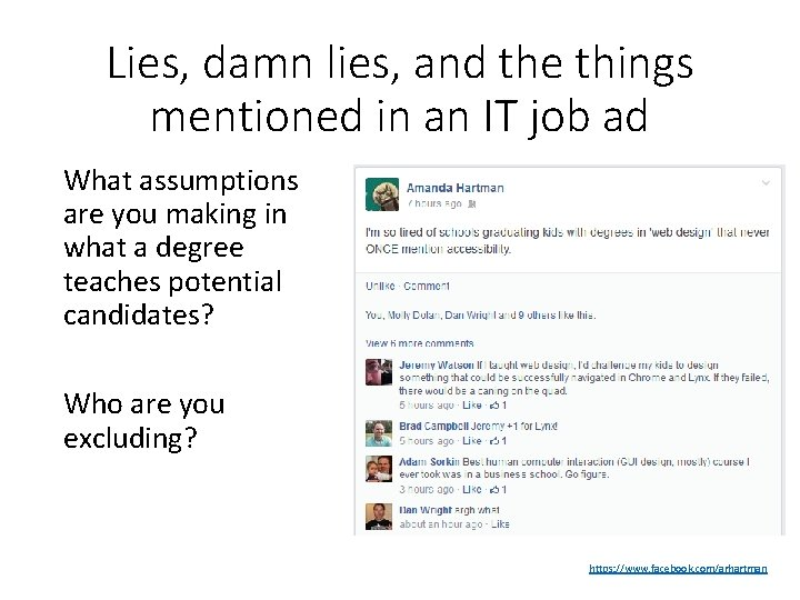 Lies, damn lies, and the things mentioned in an IT job ad What assumptions