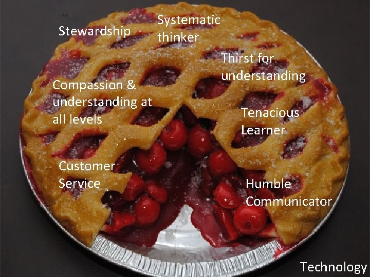 Stewardship Compassion & understanding at all levels Customer Service Systematic thinker Thirst for understanding