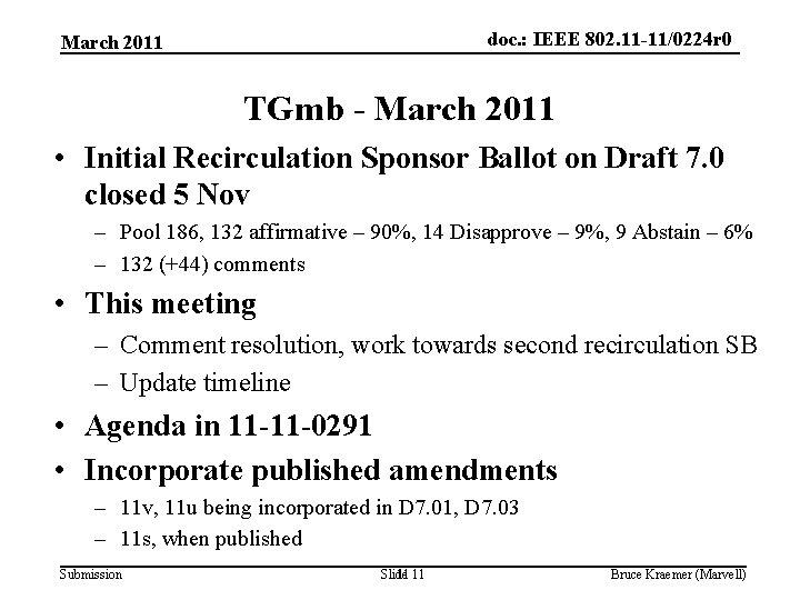 doc. : IEEE 802. 11 -11/0224 r 0 March 2011 TGmb - March 2011