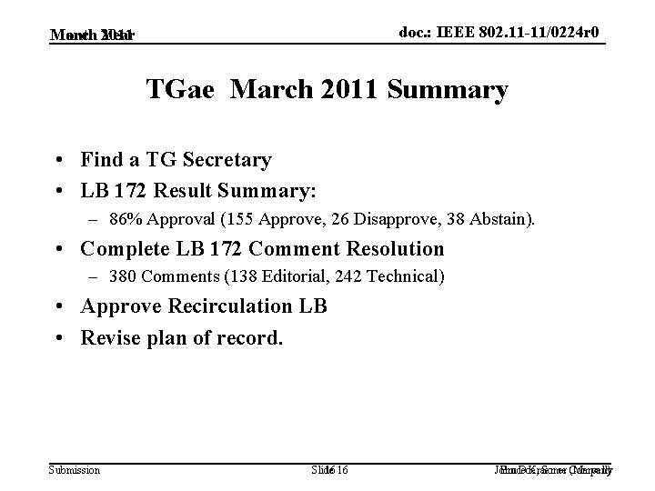 doc. : IEEE 802. 11 -11/0224 r 0 March 2011 Month Year TGae March