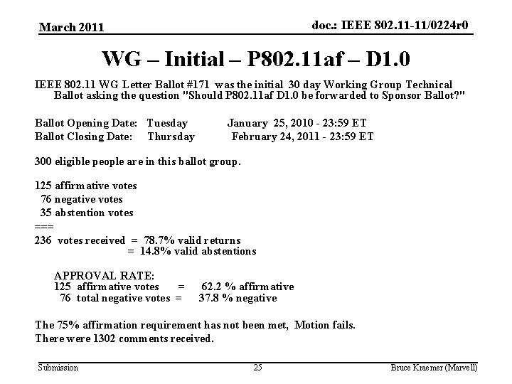 doc. : IEEE 802. 11 -11/0224 r 0 March 2011 WG – Initial –