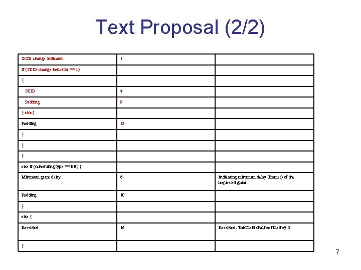 Text Proposal (2/2) SCID change indicator 1 If (SCID change indicator == 1) {