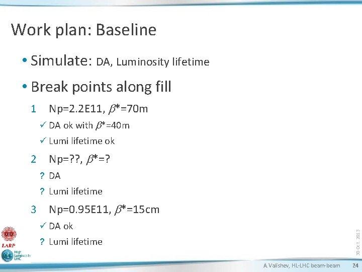 Work plan: Baseline • Simulate: DA, Luminosity lifetime • Break points along fill 1