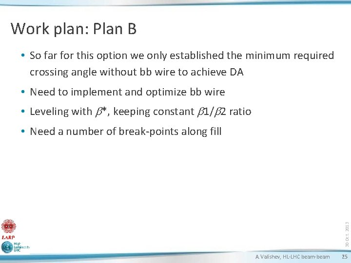 Work plan: Plan B • So far for this option we only established the