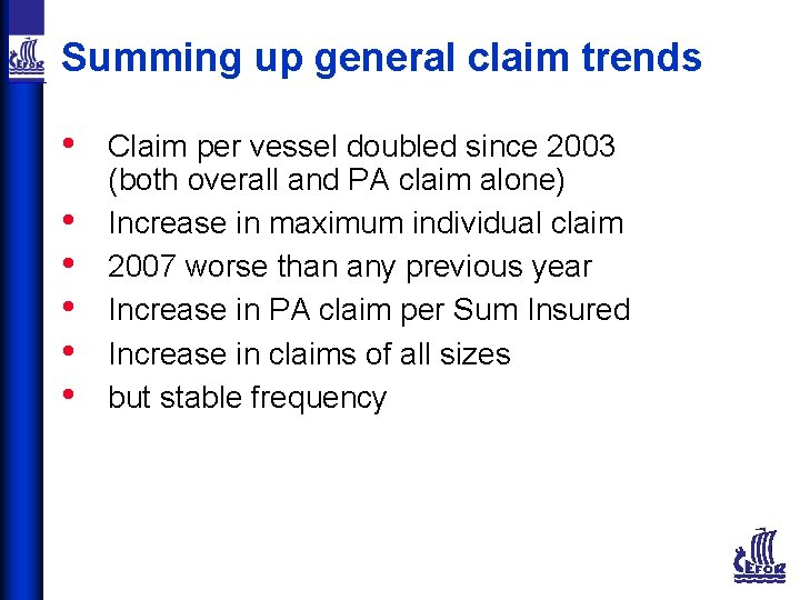 Summing up general claim trends • • • Claim per vessel doubled since 2003
