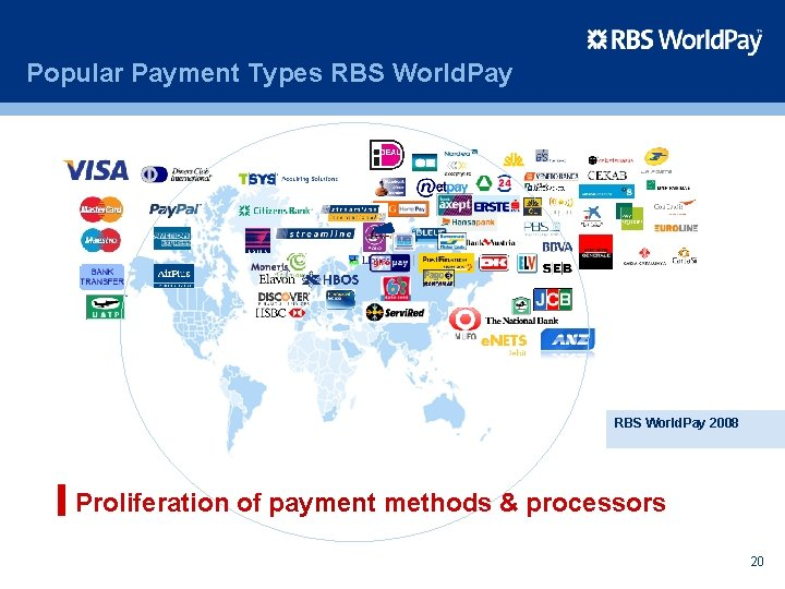 Popular Payment Types RBS World. Pay 2008 Proliferation of payment methods & processors 20