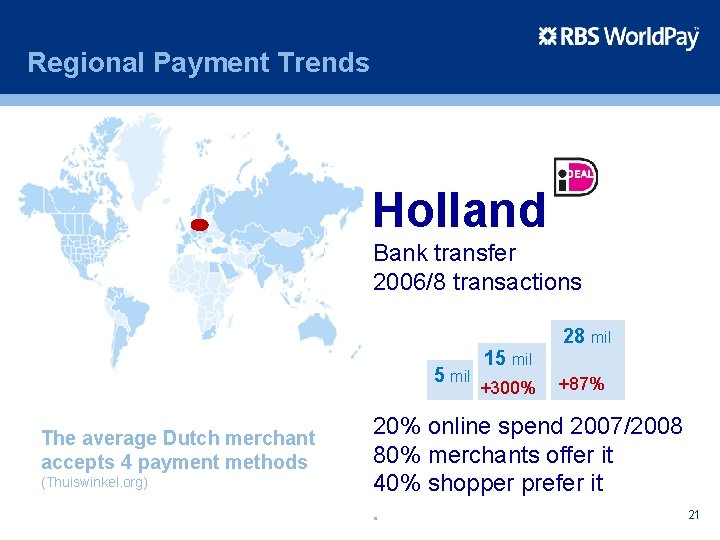 Regional Payment Trends Holland Bank transfer 2006/8 transactions 28 mil 5 mil The average