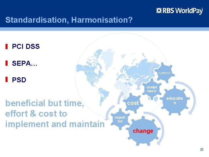 Standardisation, Harmonisation? PCI DSS SEPA… systems PSD compl iance beneficial but time, effort &