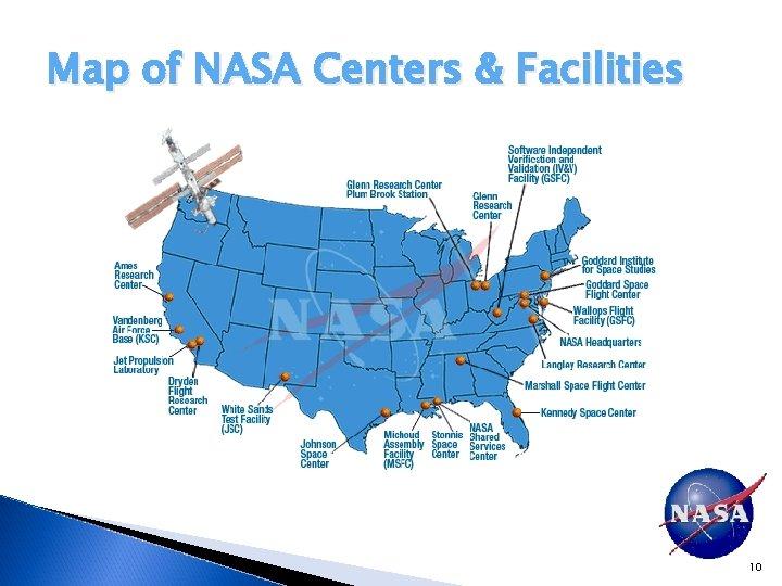 Map of NASA Centers & Facilities 10