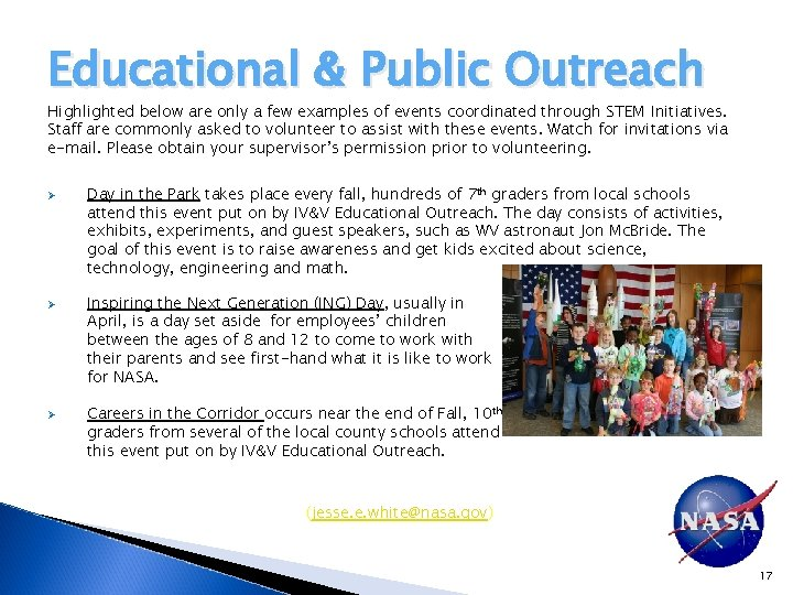 Educational & Public Outreach Highlighted below are only a few examples of events coordinated