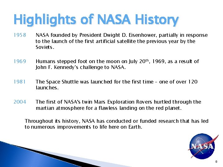 Highlights of NASA History 1958 NASA founded by President Dwight D. Eisenhower, partially in