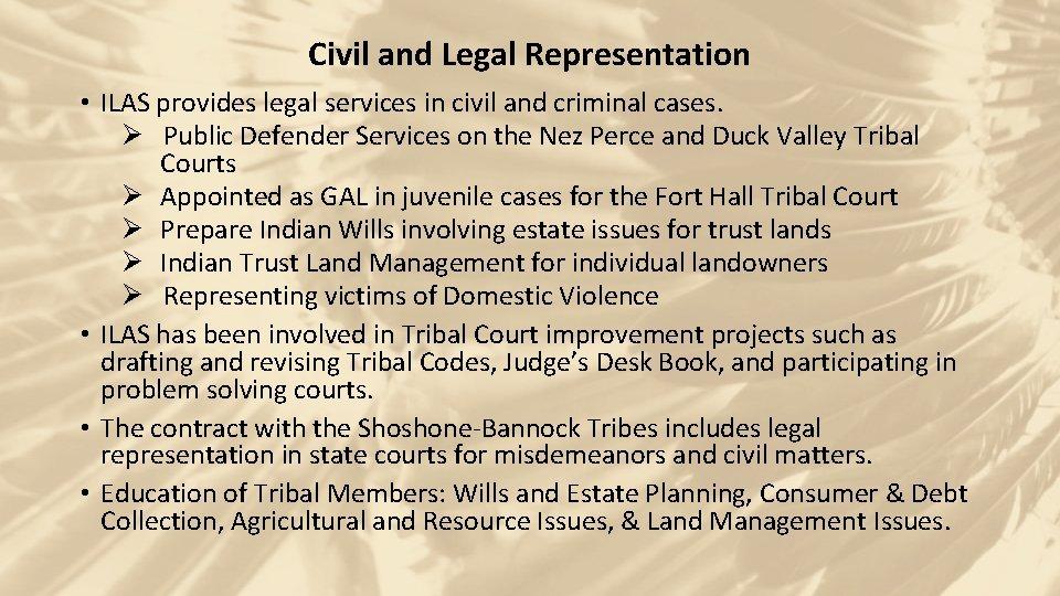 Civil and Legal Representation • ILAS provides legal services in civil and criminal cases.