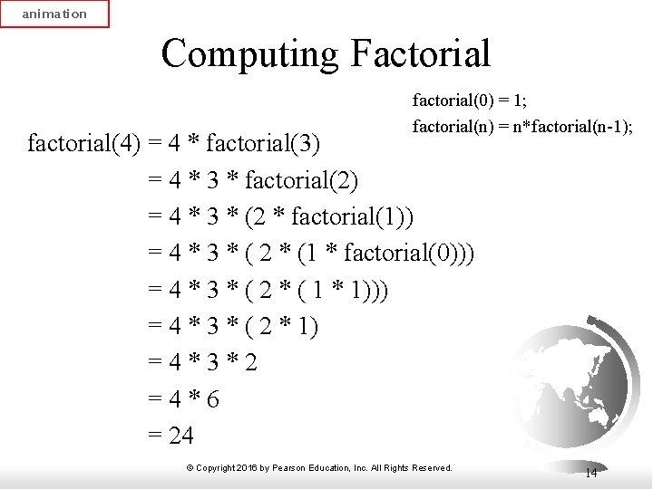 animation Computing Factorial factorial(0) = 1; factorial(n) = n*factorial(n-1); factorial(4) = 4 * factorial(3)