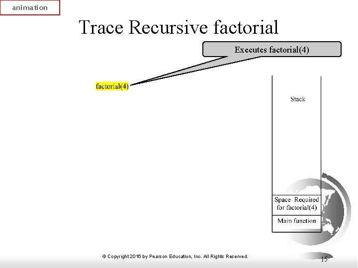 animation Trace Recursive factorial Executes factorial(4) © Copyright 2016 by Pearson Education, Inc. All