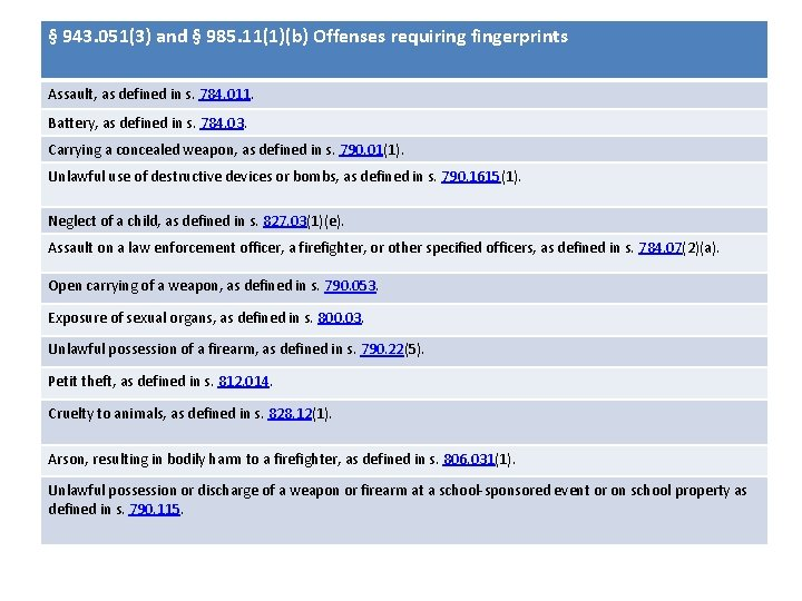 § 943. 051(3) and § 985. 11(1)(b) Offenses requiring fingerprints Assault, as defined in
