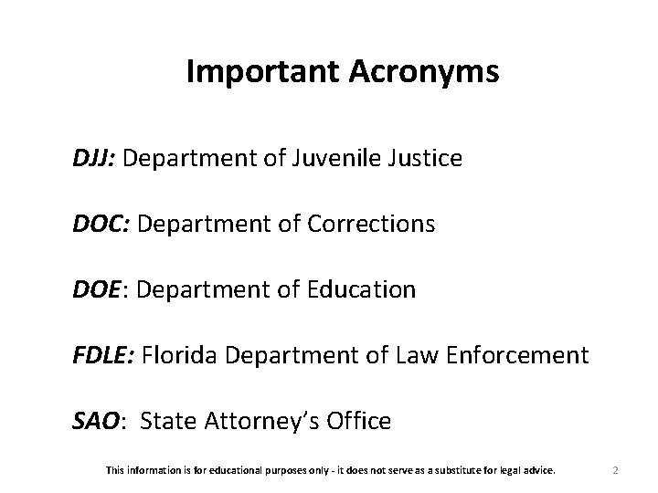 Important Acronyms DJJ: Department of Juvenile Justice DOC: Department of Corrections DOE: Department of
