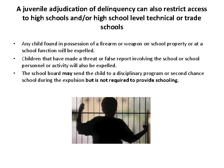 A juvenile adjudication of delinquency can also restrict access to high schools and/or high