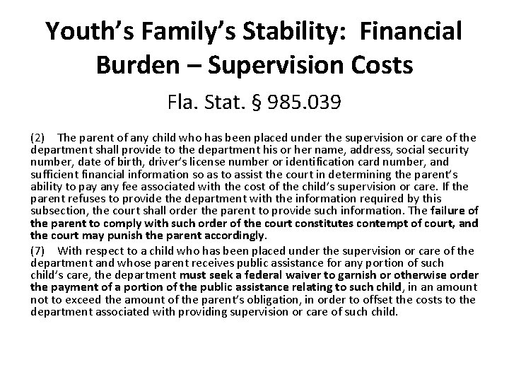 Youth's Family's Stability: Financial Burden – Supervision Costs Fla. Stat. § 985. 039 (2)The