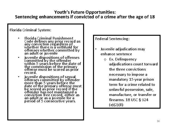Youth's Future Opportunities: Sentencing enhancements if convicted of a crime after the age of