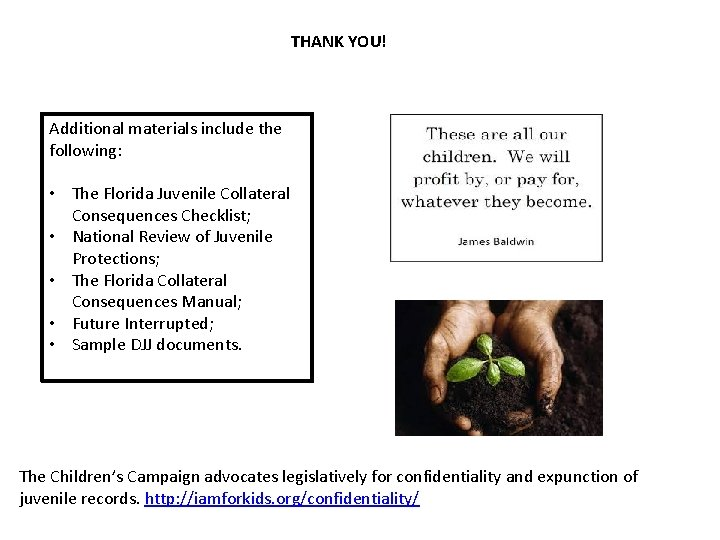 THANK YOU! Additional materials include the following: • The Florida Juvenile Collateral Consequences Checklist;