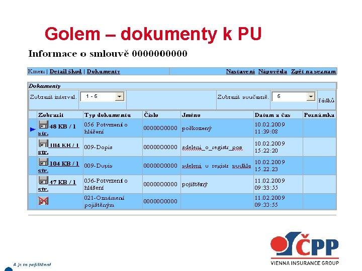 Golem – dokumenty k PU