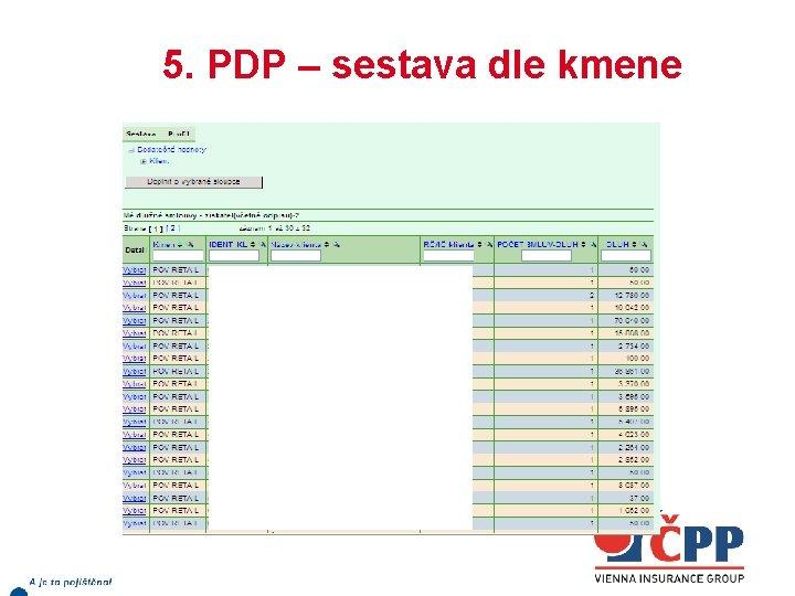 5. PDP – sestava dle kmene