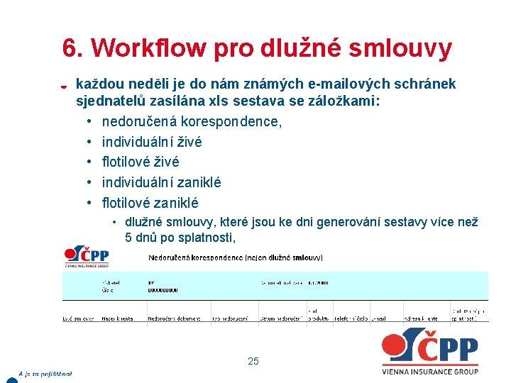 6. Workflow pro dlužné smlouvy každou neděli je do nám známých e-mailových schránek sjednatelů