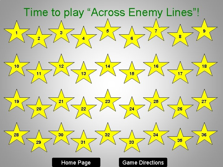 """Time to play """"Across Enemy Lines""""! 1 5 3 2 10 4 12 11"""